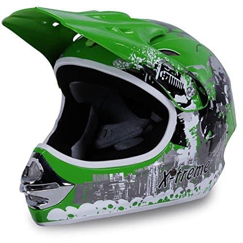 Motorradhelm Kinder Cross Helme Sturzhelm Schutzhelm Helm für Motorrad Kinderquad und Crossbike Modell Design 2015 in grün (Medium)