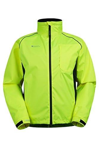 Mountain Warehouse Adrenaline Winddichte Herren Fahrradjacke- Atmungsaktiv, Reflektierend, Leucht-Print, verstellbarer Saum, Regenmantel - Für Radfahren, Joggen und Wandern Gelb XX-Large