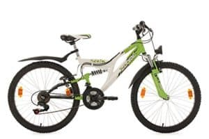 KS Cycling Kinder Fahrrad Mountainbike Fully Zodiac RH 38 cm, weiß-grün, 24, 633K